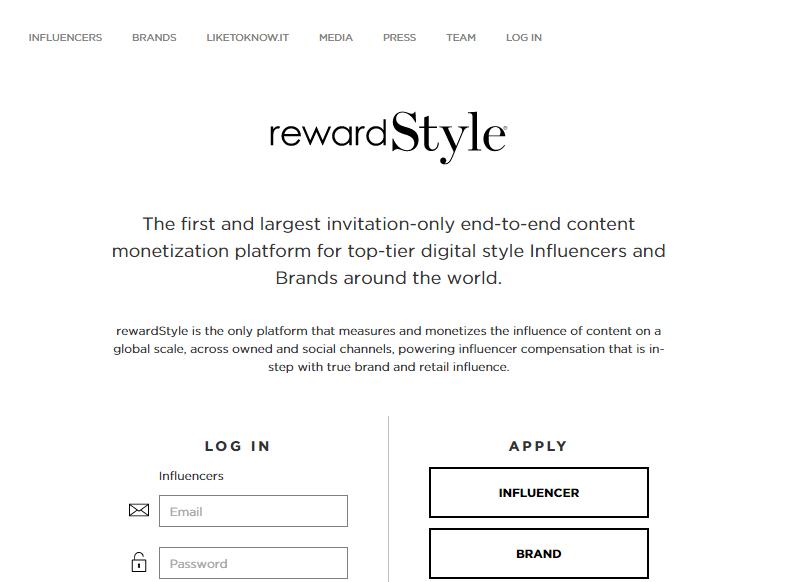 "Pic. 1.3 ""Rewardstyle influencer marketing platfrom"""